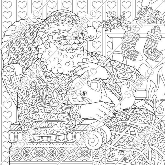 Coloring Pages for adults. Santa Claus. Christmas cats