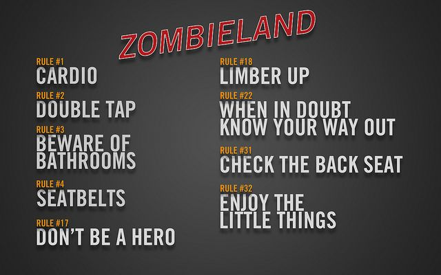 Zombieland List 2zombieland Rules List Bug Out Shit Zombieland