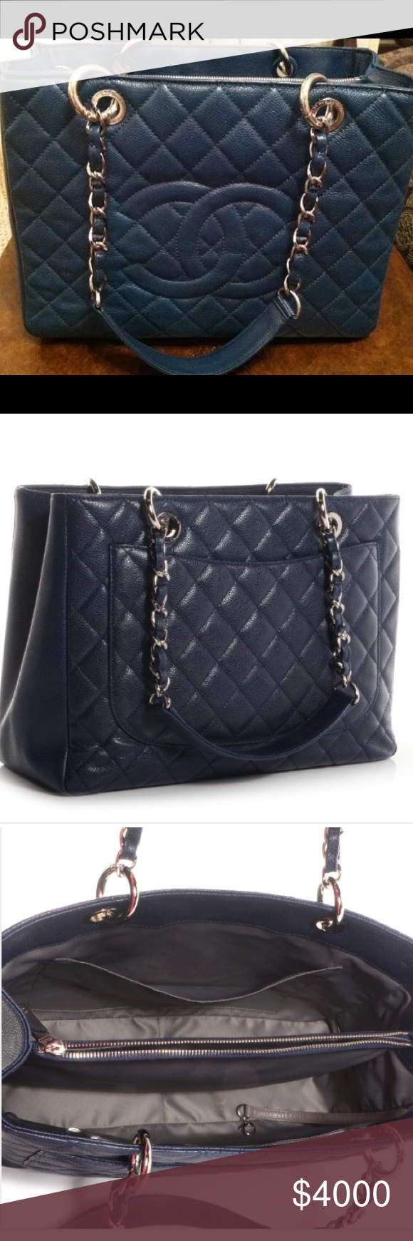 4d651887615d Chanel GST grand shopping tote Authentic 100% CHANEL BLUE CAVIAR LEATHER SHOPPER  GST TOTE shoulder
