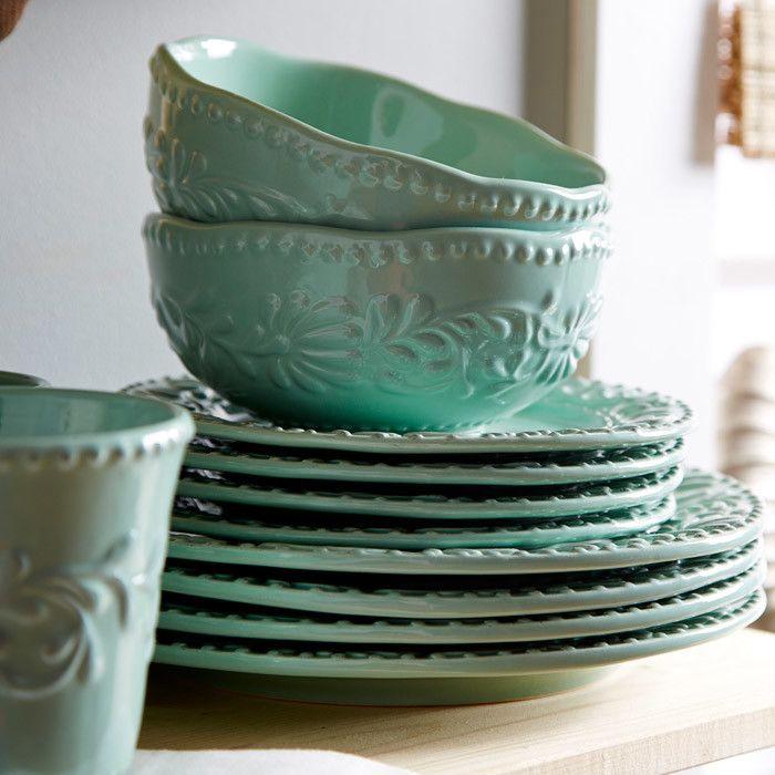 16-Piece Isabella Round Dinnerware Set in Jade Blue - Bring a charming touch to & 16-Piece Isabella Round Dinnerware Set in Jade Blue - Bring a ...