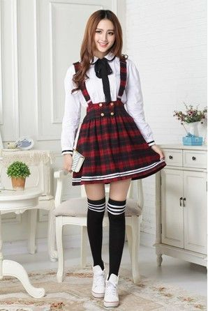 5ea2d4bcd67b Japanese kawaii braces skirt + shirt two-piece outfit | need ...