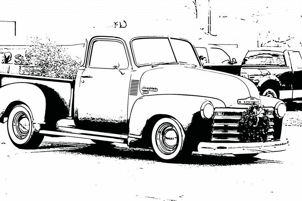 Free coloring sheets pictures of vintage cars for kids