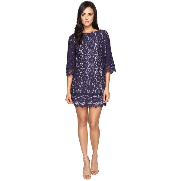 Navy lace shift dress with sleeves