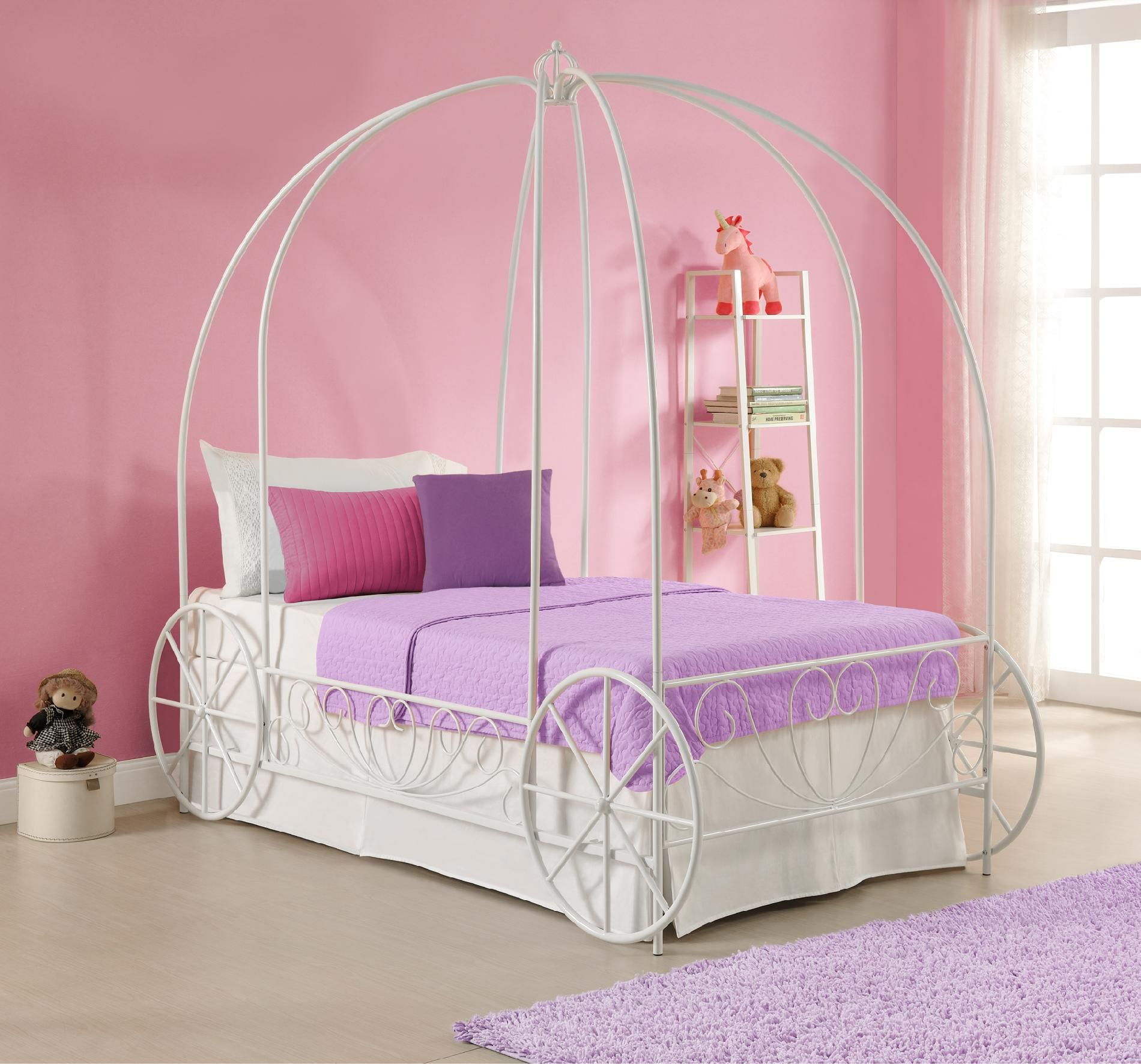 Dorel Home Furnishings Metal Twin Carriage Bed Multiple Colors, Purple