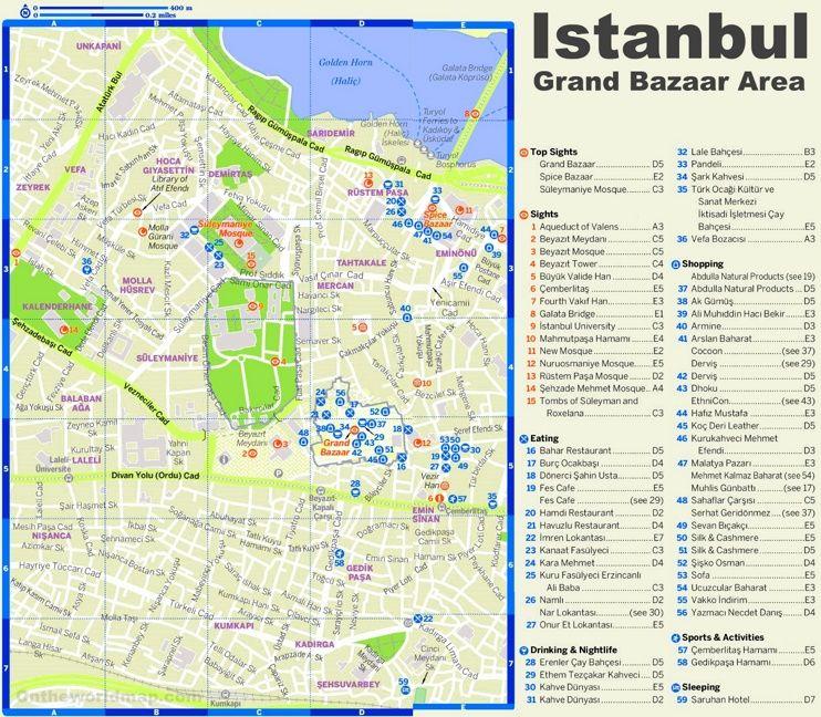 Istanbul Grand Bazaar area tourist map   Travel   Tourist map ...