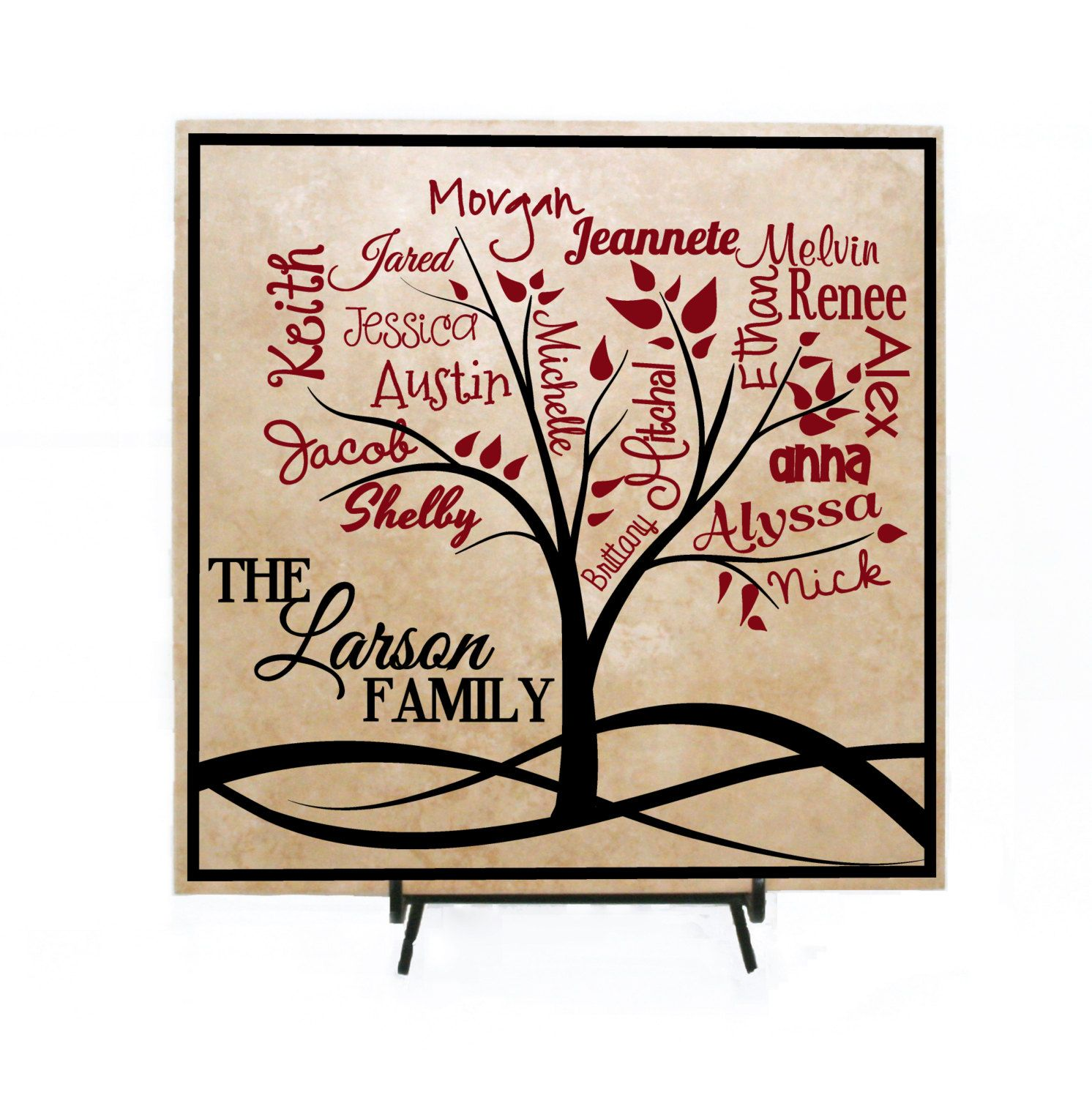Family Tree Custom Sign Personalized With Names Gift For