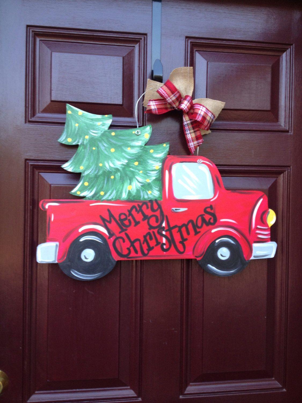 Merry Christmas y/'all red truck with Christmas tree wood door hanger..personalized..door hanger...Christmas door hanger..