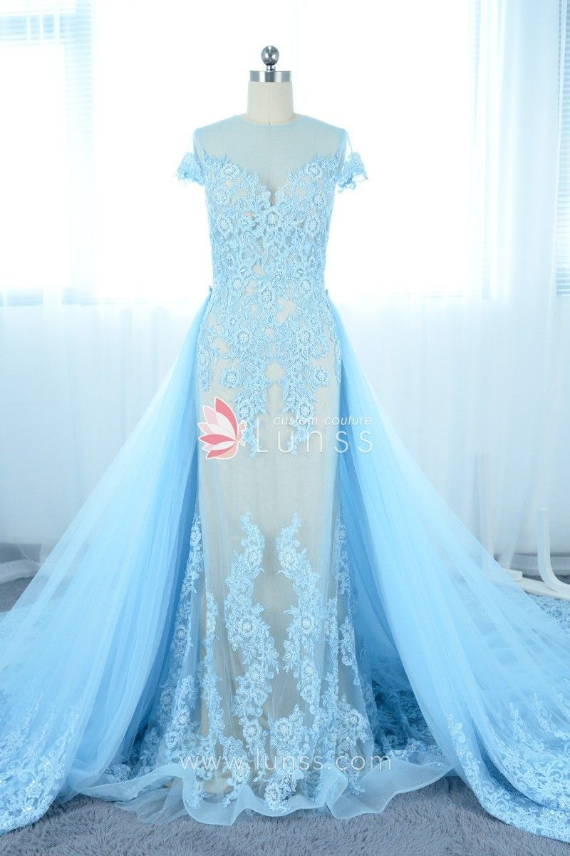 Romantic Sky Blue Pearls Lace Illusion Tulle Prom Dress with ...