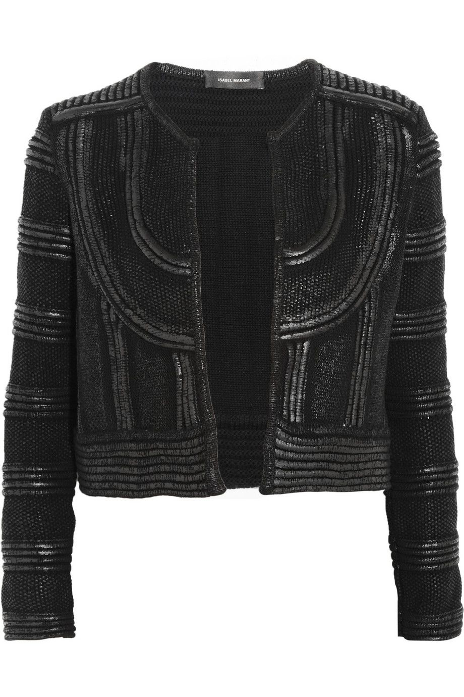 http://www.theoutnet.com/en-GB/product/Isabel-Marant/Kazia-lacquered-cotton-knitted-acket/630399