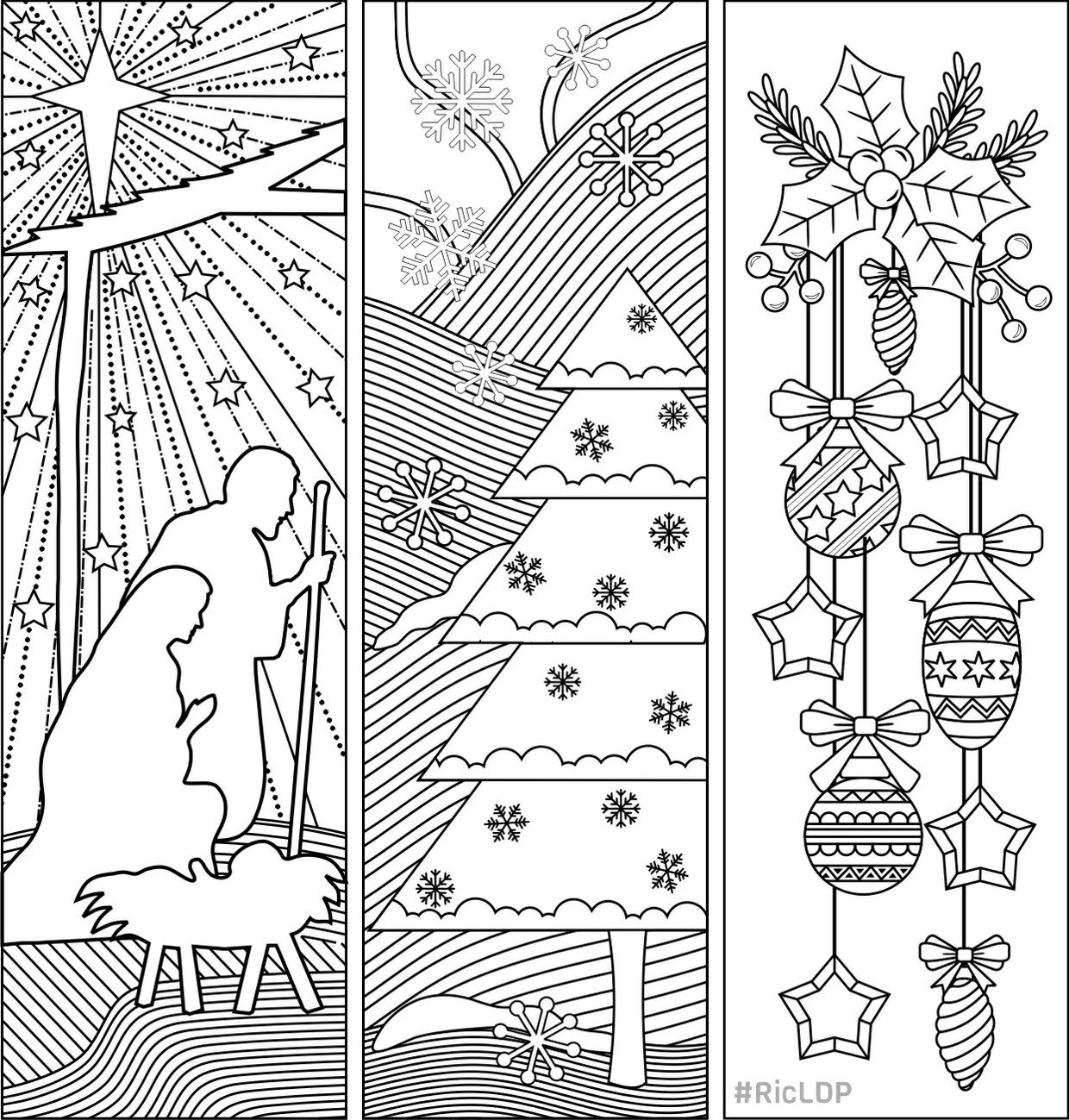 Three Christmas Coloring Bookmarks Coloring Pages Christmas
