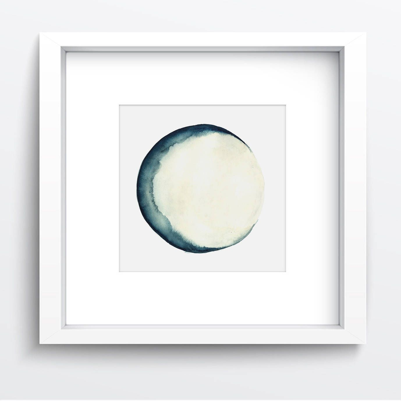 Moon phases watercolor painting blue wall decor abstract full moon