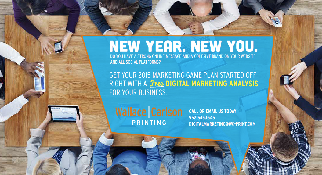 Wallace Carlson, New Year New You, Printing, Mailing, Digital Marketing, Wallace-Carlson. www.wallacecarlson.com