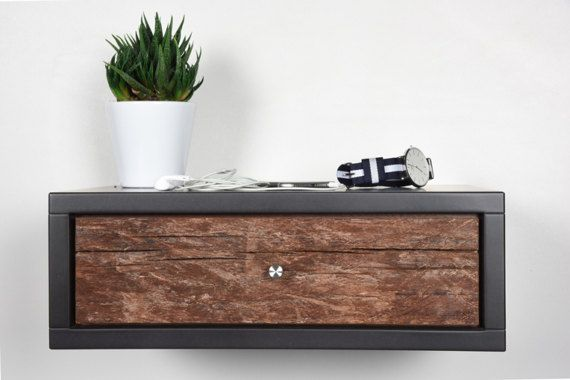 Mobili Sospesi ~ Bedside table in old chestnut with drawer by ebanisteria cavallaro