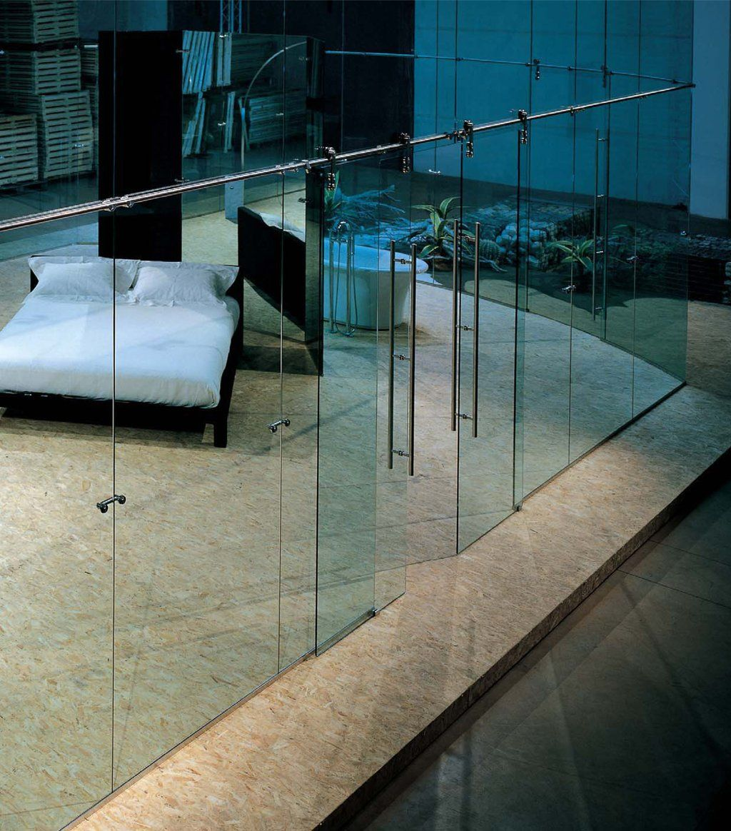 Frameless glass office system glass demountable walls for Sliding glass wall systems