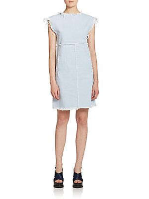 "Marc by Marc Jacobs Lightweight Denim Dressarc by Marc Jacobs looks to feather-weight denim to shape this simple, belted shift. Round neckline Short sleeves Front belt loops Buckle-tab belt at front waist Side slash pockets Exposed back zip Back patch pockets About 20"" from natural waist Cotton Dry clean Imported"