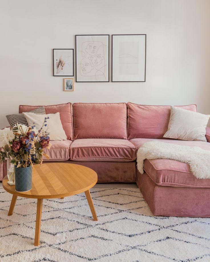 custom ikea kivik sofa cover in velvet pink fabricbemz