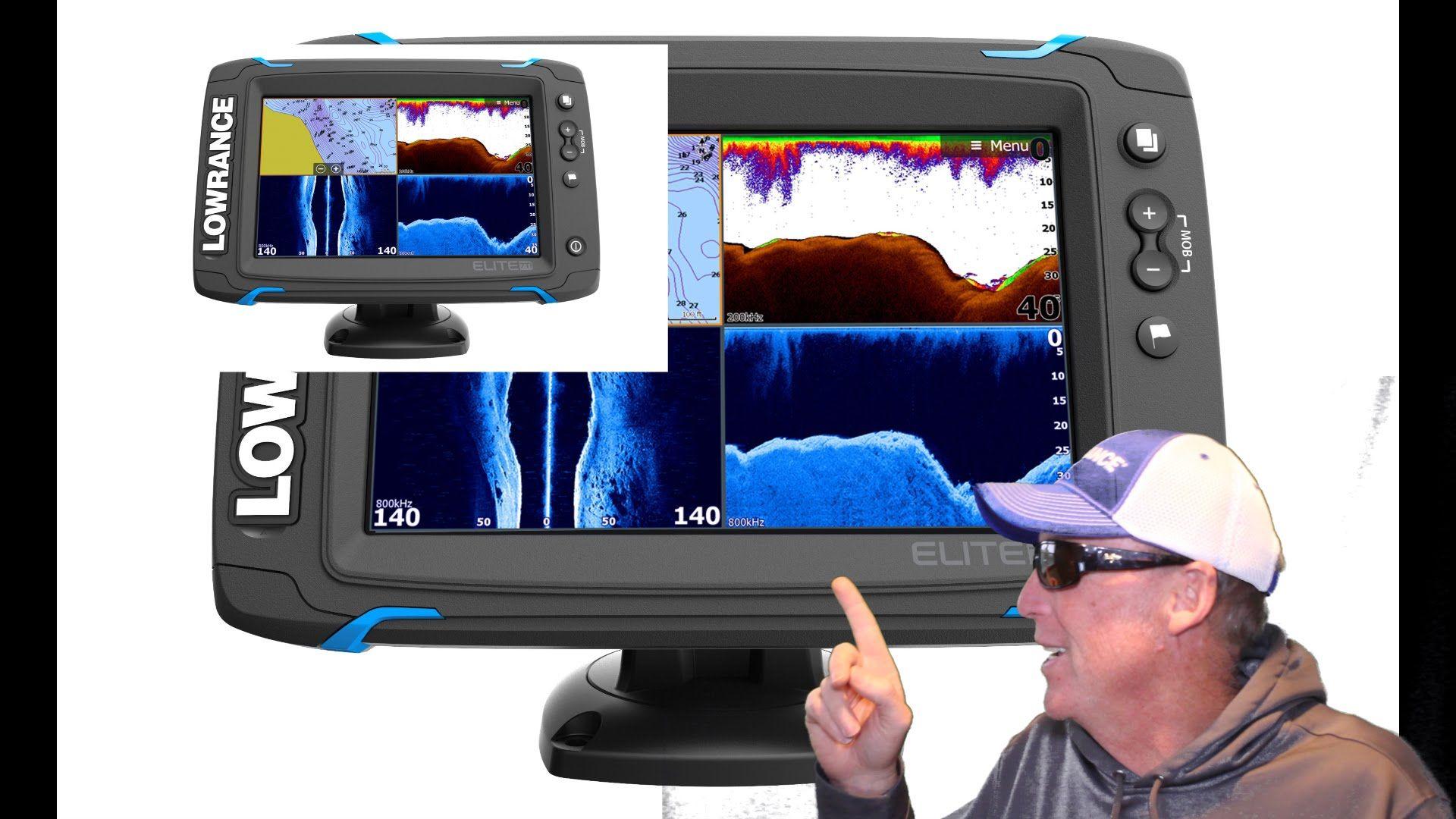 Lowrance Elite Ti Series fishfinder/chartplotter and Hook