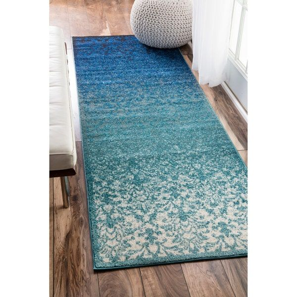 nuLOOM Modern Abstract Vintage Turquoise Runner Rug (2'7 x
