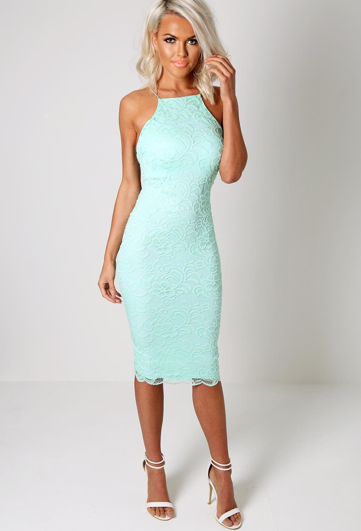 Shannen Mint Green Polo Neck Midi Dress | Pink Boutique | Bodycon ...