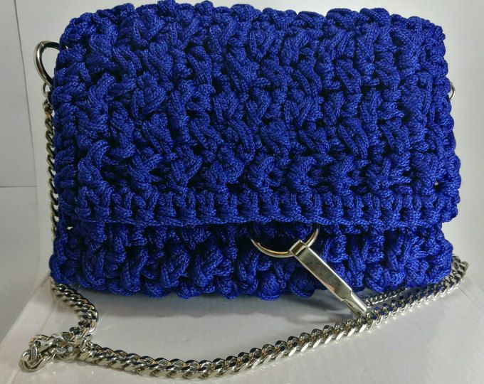 Women's Cobalt Blue Handbag with Silver chain and details/crochet
