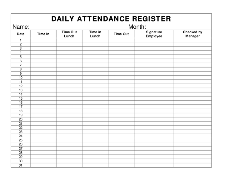 daily attendance attendance register pay stub template excel pinterest. Black Bedroom Furniture Sets. Home Design Ideas