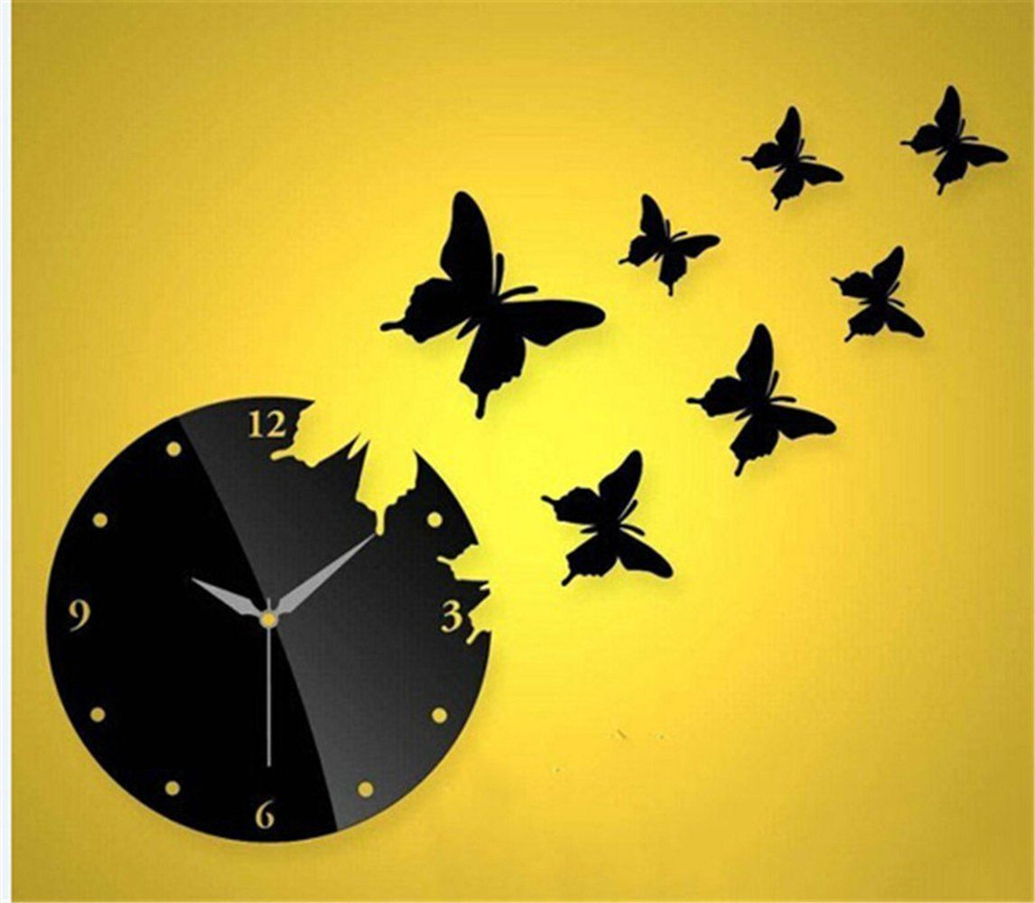 Himerus Mordern Patchwork DIY Art Home Decor Wall Clock Butterfly Wall  Stickers Decals For Office Living
