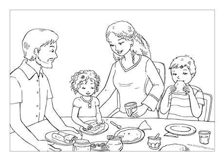 Eating Pancakes On Pancake Day Colouring Page