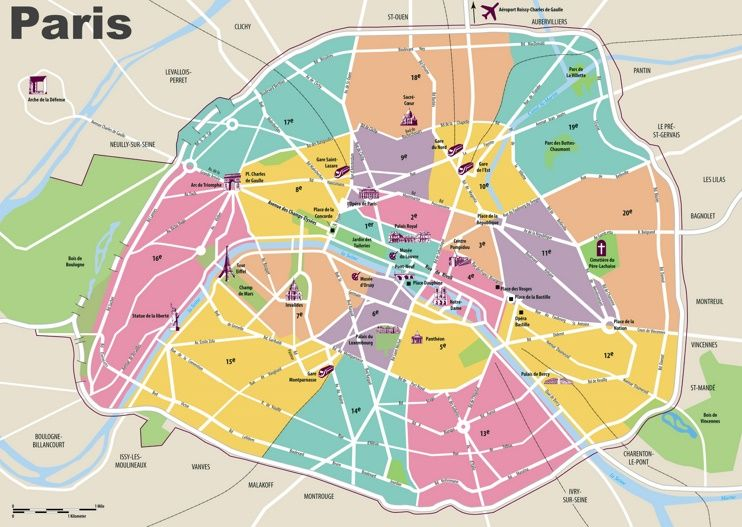 paris travel map with tourist attractions and arrondissements
