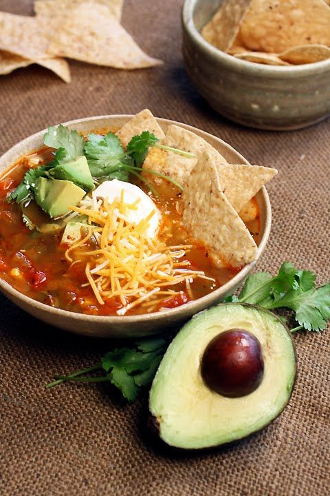 Spicy Vegetarian Tortilla Soup - sounds delish!