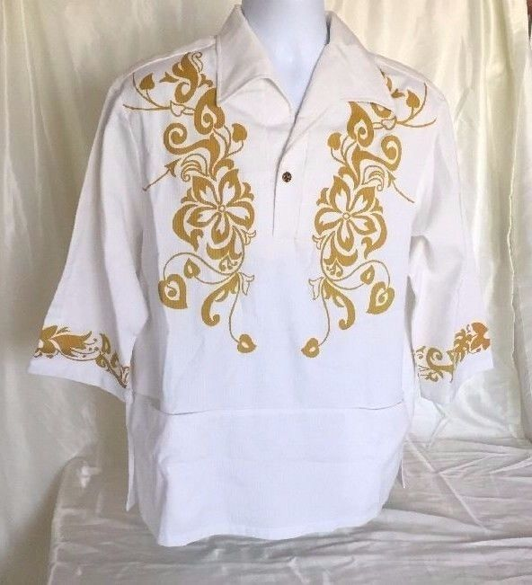 a7e6d562e Formal Vintage Hawaiian Shirt Mens Wedding White Gold Iolani Large 60s 70s  Aloha