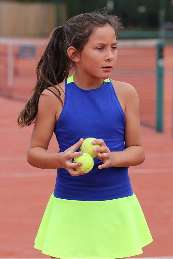 Tennis Dress Daria Racerback Neon For Girls Girls Tennis Etsy Girl Tennis Outfit Tennis Dress Girls Tennis Dress