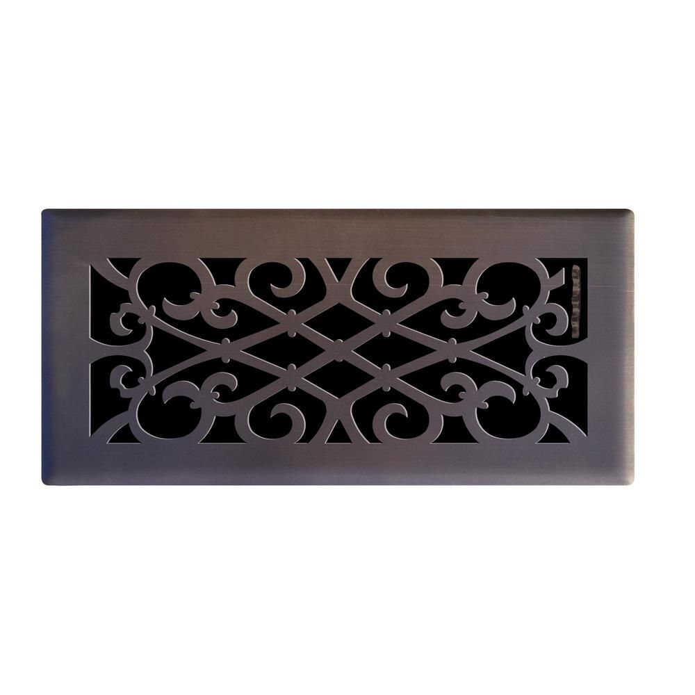 Hampton Bay 4 In X 10 In Elegant Scroll Floor Register In Oil Rubbed Bronze E1402 Ob 04x10 The Home Depot Floor Registers Decorative Vent Cover Hampton Bay