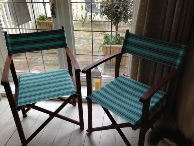 Recovered Directors Chairs In Fencing Cover Sets Fabric