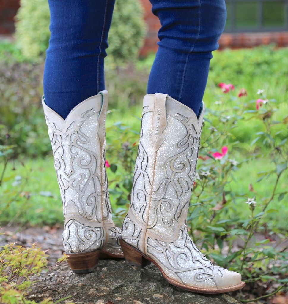 10e28b7d817 Corral White Glitter Inlay and Crystals Boots C3434 Heel | Cowgirl ...