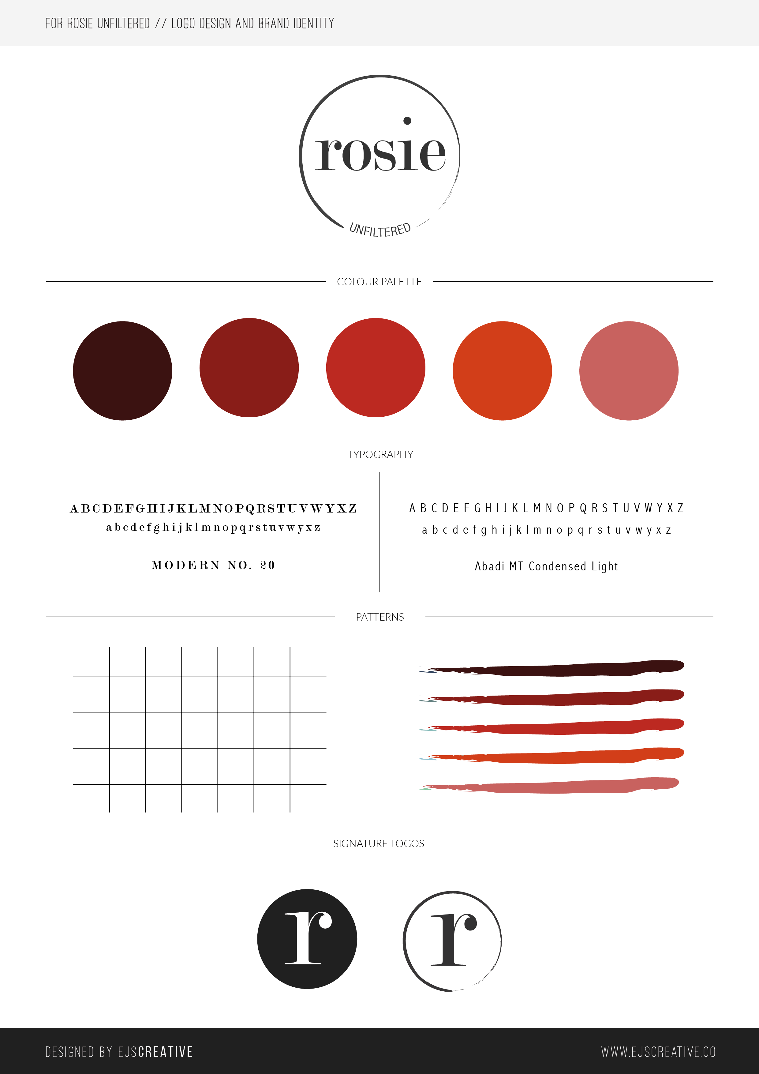 Logo design and brand guidelines concept for ROSIE