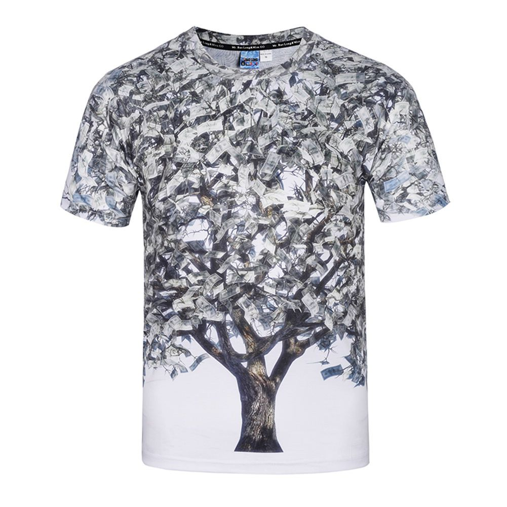 New Summer 3d Tree Print T Shirt Casual Short Sleeve Graphic Tee For