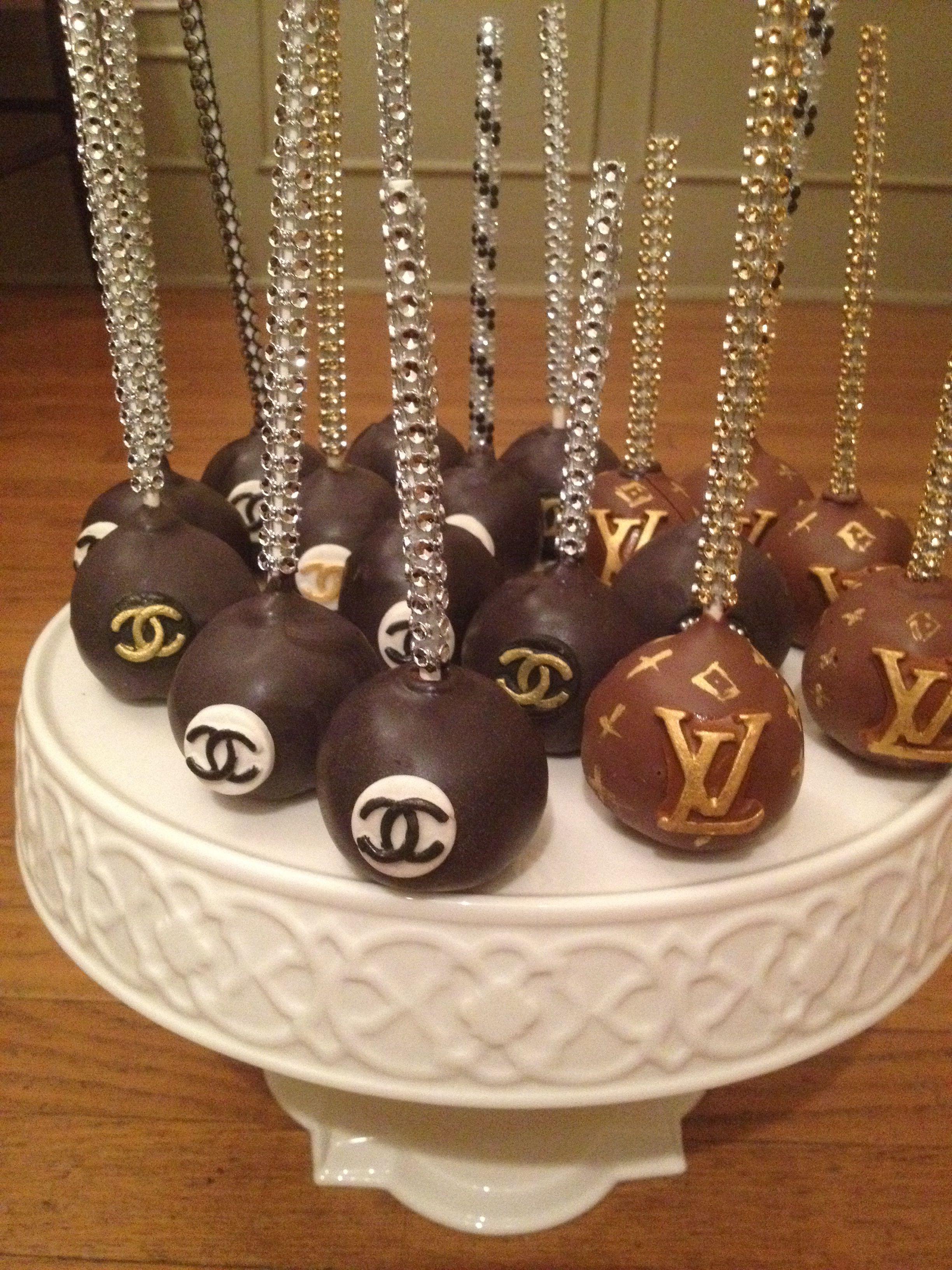 Fine Chanel Lv Cake Pops With Images Elegant Cake Pops Cake Pops Funny Birthday Cards Online Inifodamsfinfo