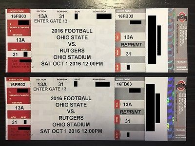 Tickets 2 Ohio State Buckeyes Vs Rutgers Scarlet Knights Football