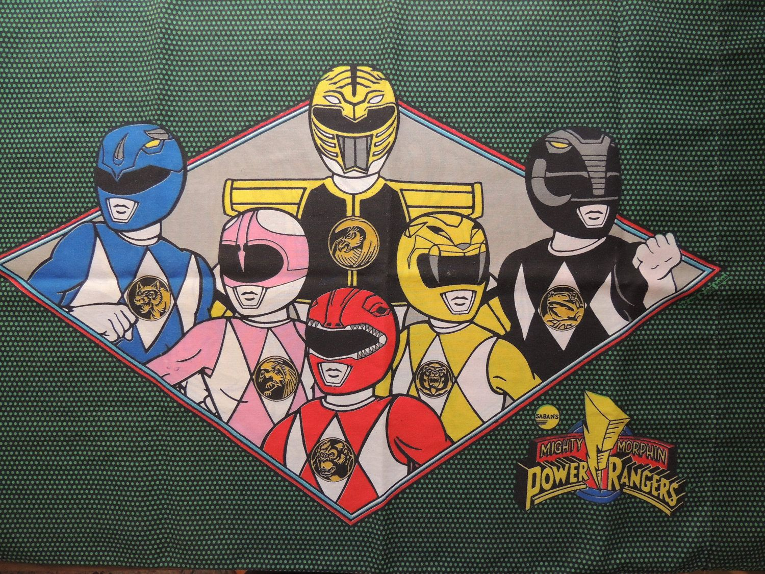 Vintage Power Rangers Fabric Quilt Panel Wall Hanging MMPR Retro 90s