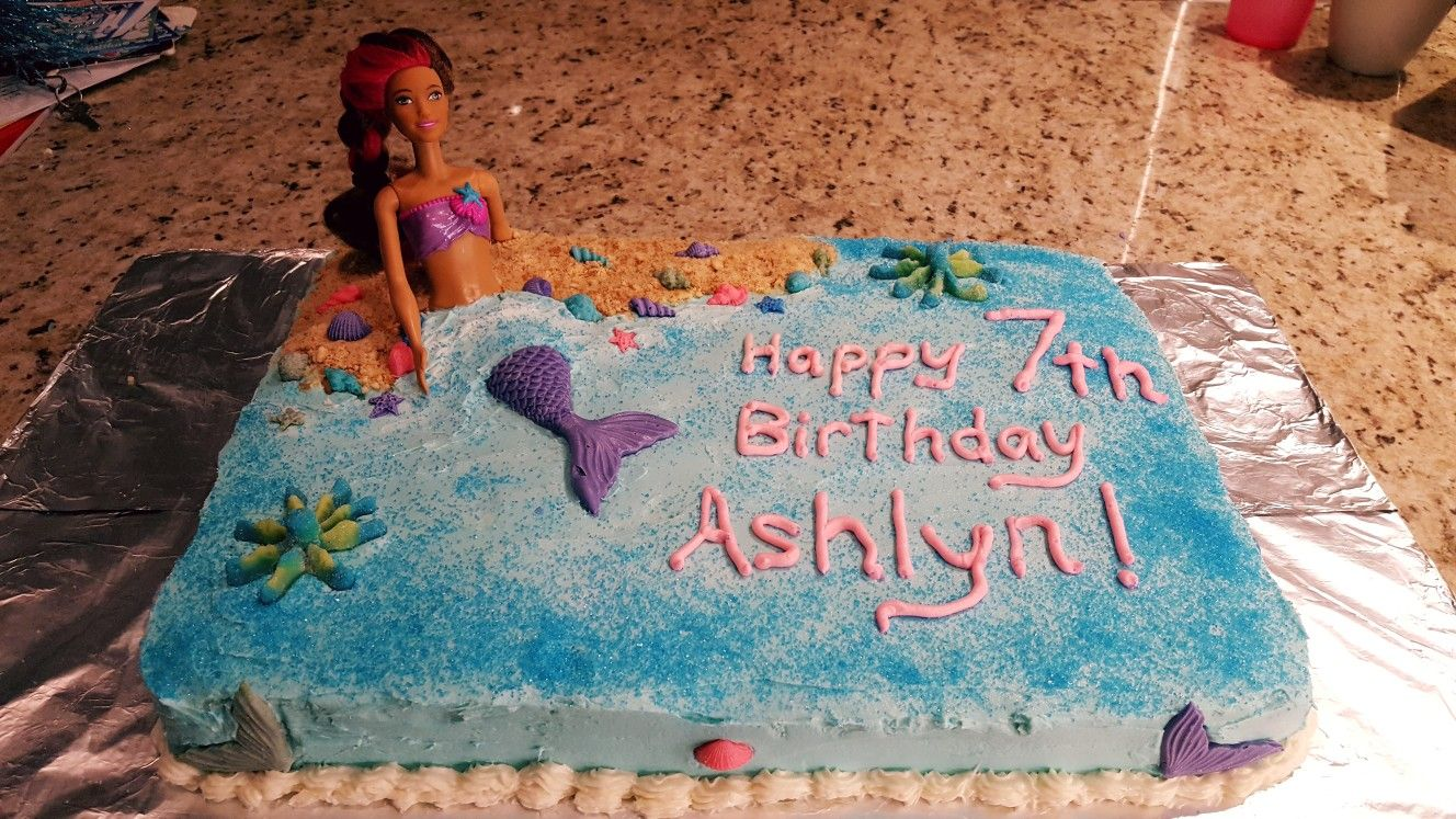 Barbie With Mermaid Tail On Sheet Cake With Buttercream Frosting