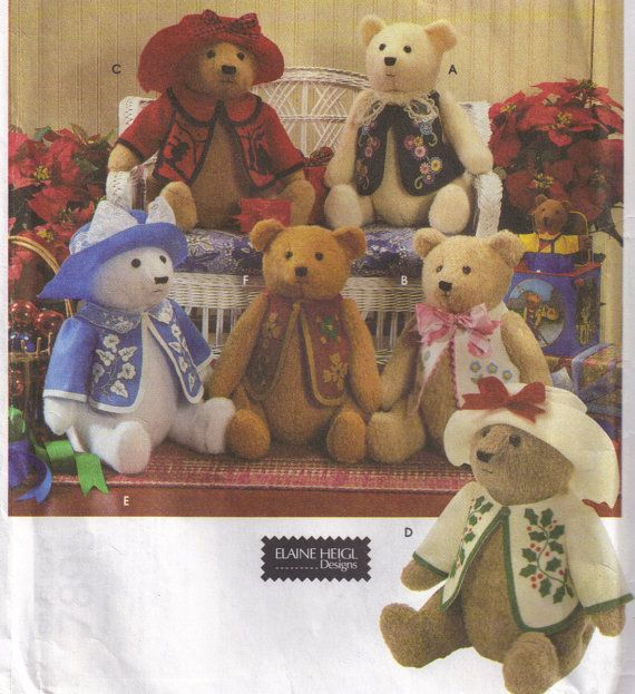 Simplicity 7895 Bear Dolls Clothes and Hats jointed. 1997 Elaine Heigl