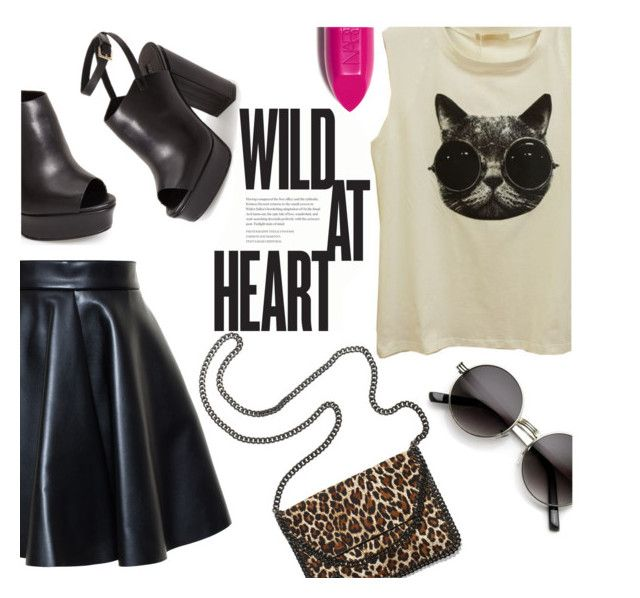 """""""Wild Cat"""" by zeynepciim ❤ liked on Polyvore featuring MSGM, Topshop, STELLA McCARTNEY, NARS Cosmetics, StreetStyle, black, contestentry, polyvorecontest and polyvorefashion"""