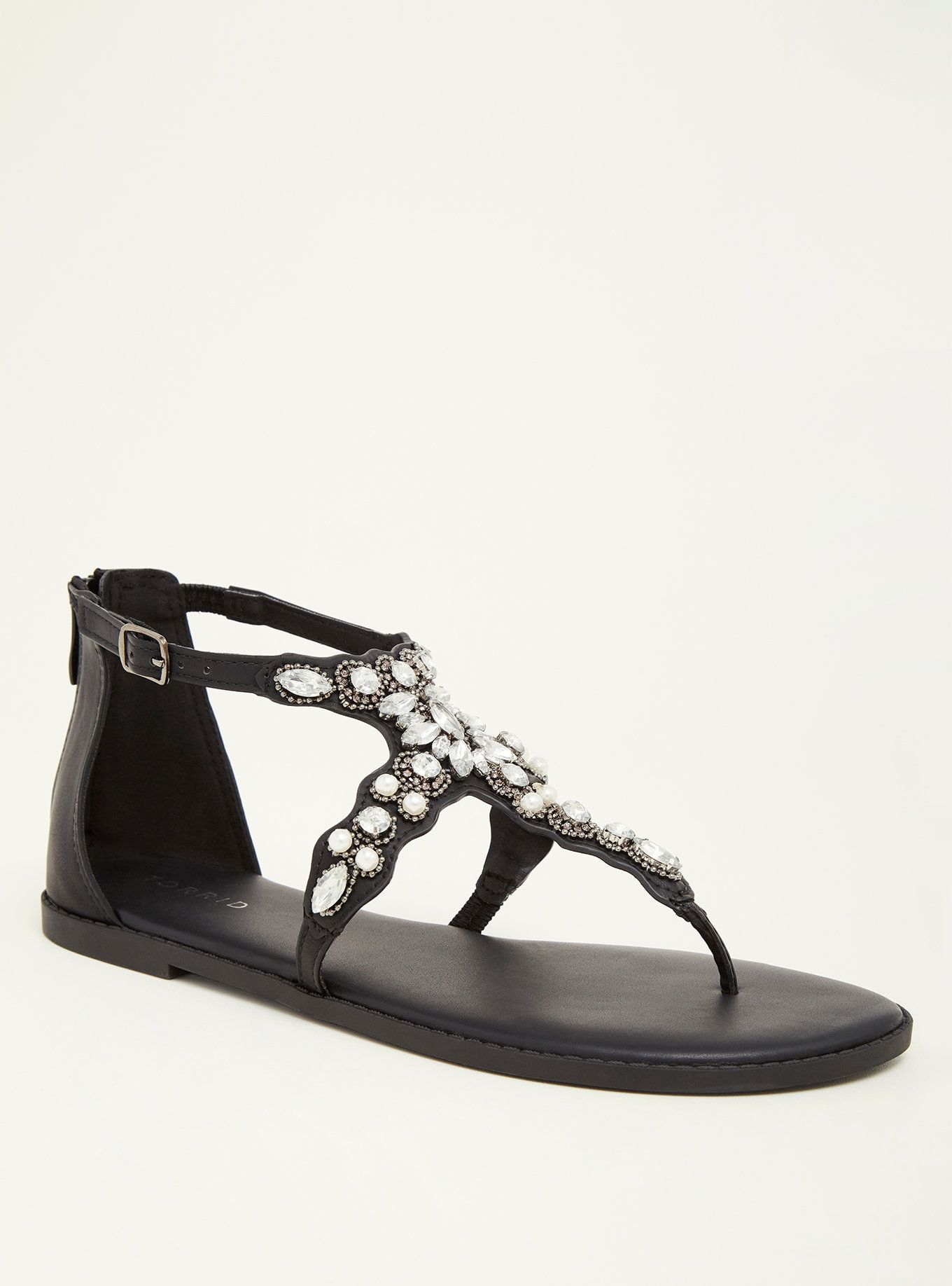 ef31c0d2836e Faux Pearl Gemstone T-Strap Sandals (Wide Width)