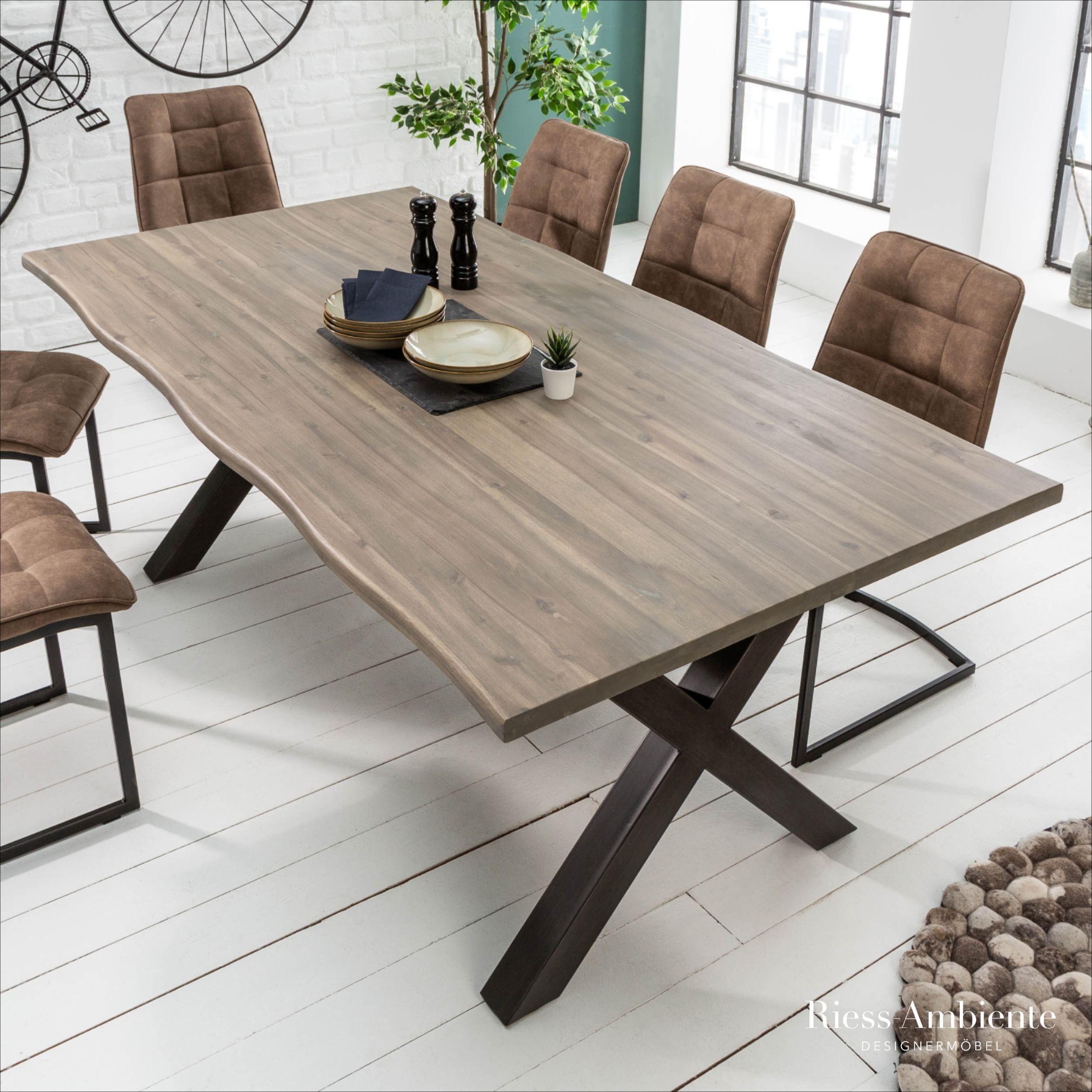 Massiver Baumstamm Tisch Genesis Grey 160cm Akazie Massivholz Baumkante Esstisch Mit X Gestell Industrial Finish Riess Ambiente De Baumstamm Tisch Tisch Esstisch