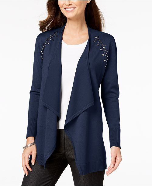 JM Collection - Womens Sweater Plus Studded Open Front