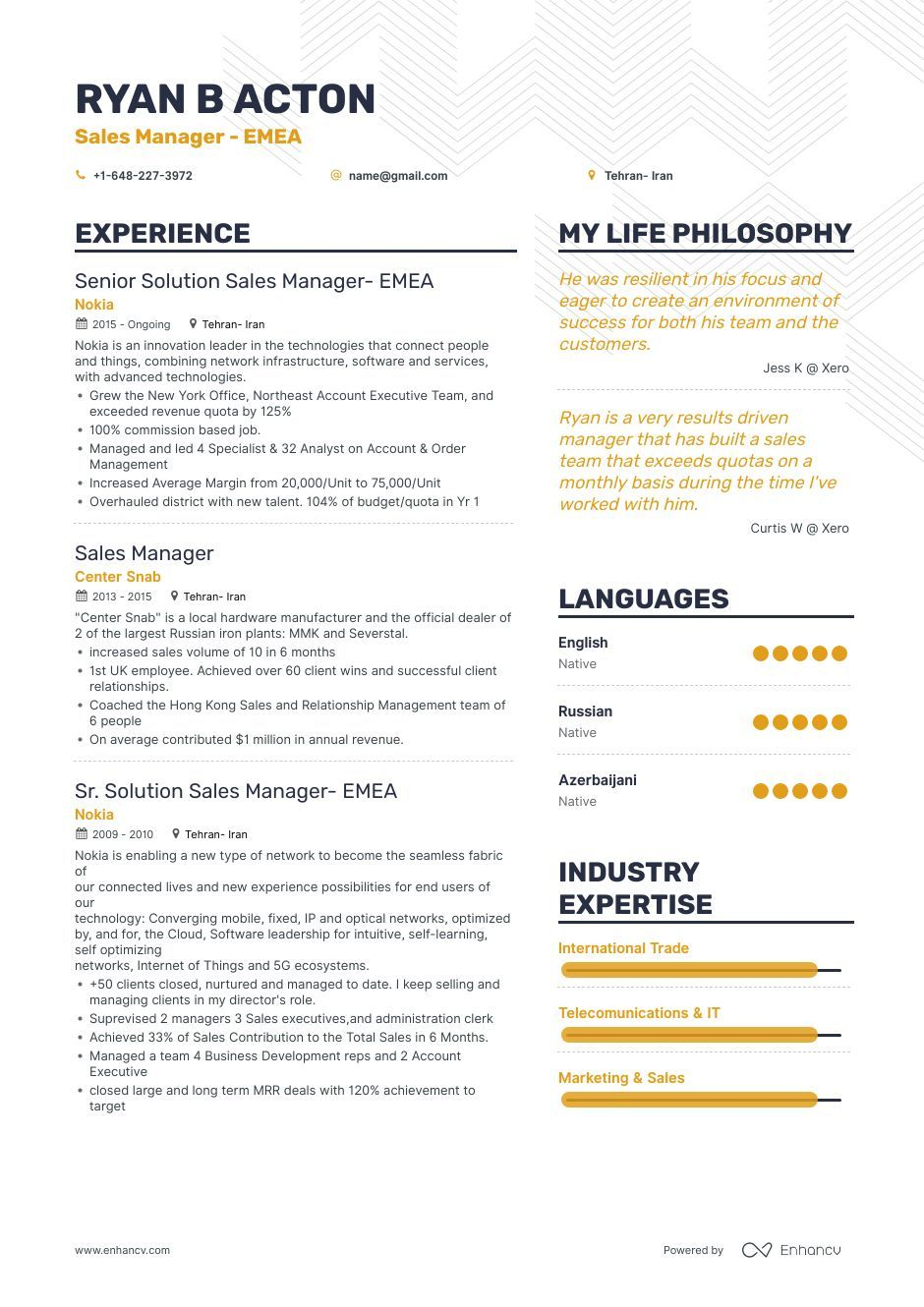 Sales Manager Resume Samples And 10 Examples Sales Resume Sales Resume Examples Resume Examples