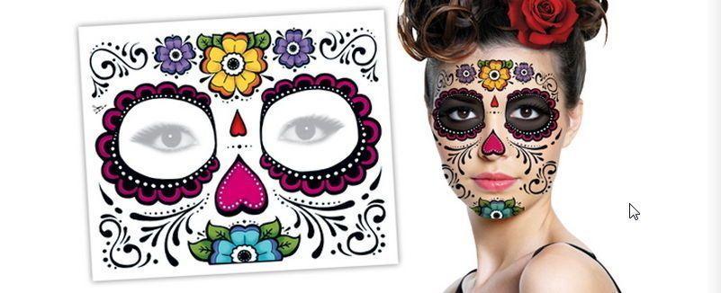 5 Day Of The Dead Floral Dia De Los Muertos Halloween Zombie Face