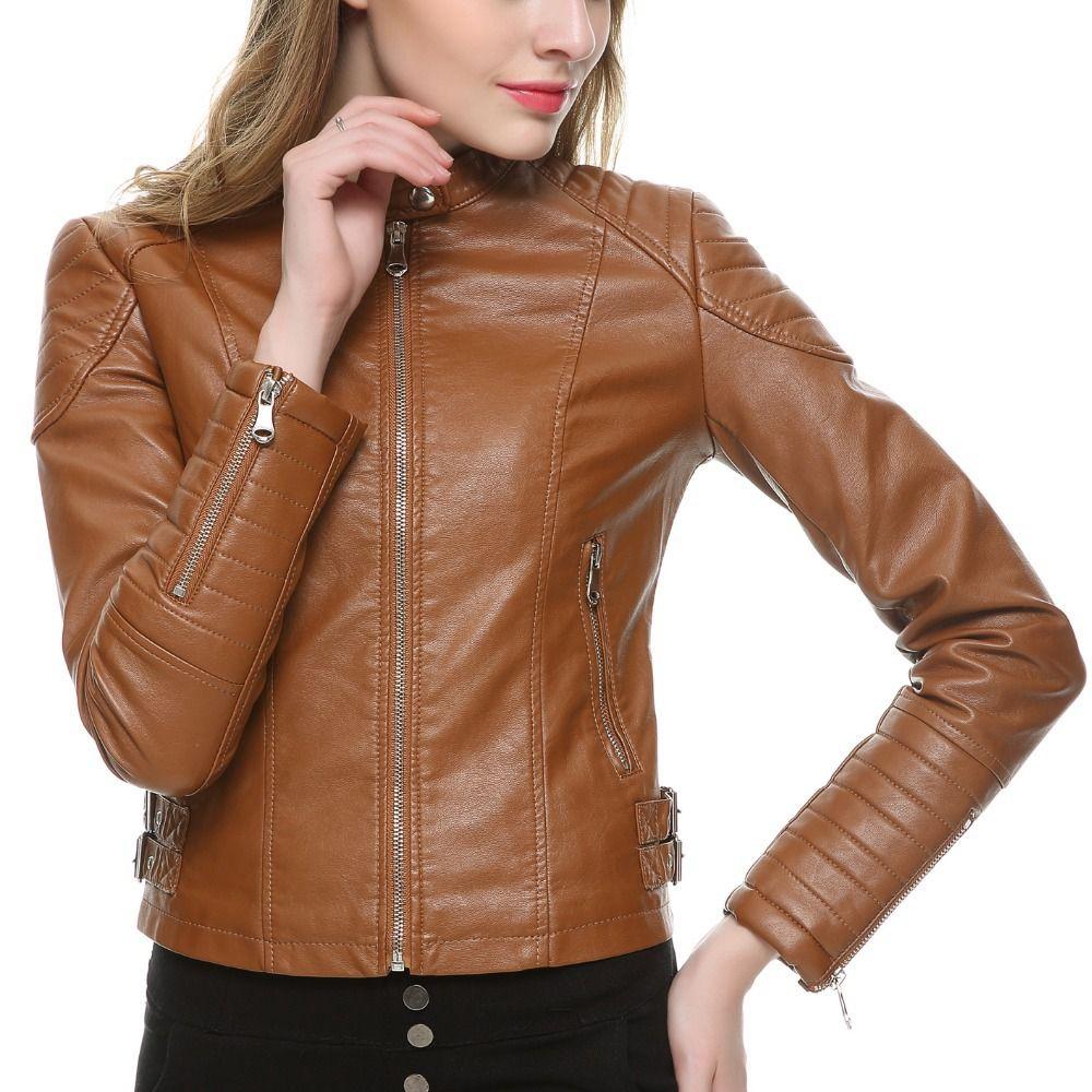2017 Brown Black Faux Leather Jacket Women Short Slim brand ...