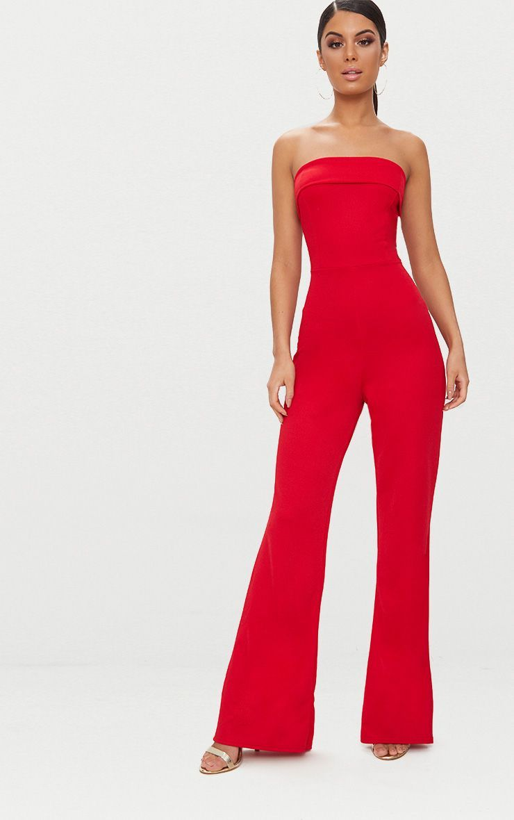 beb79bc7a1 Red Bandeau Fold Detail Jumpsuit in 2019