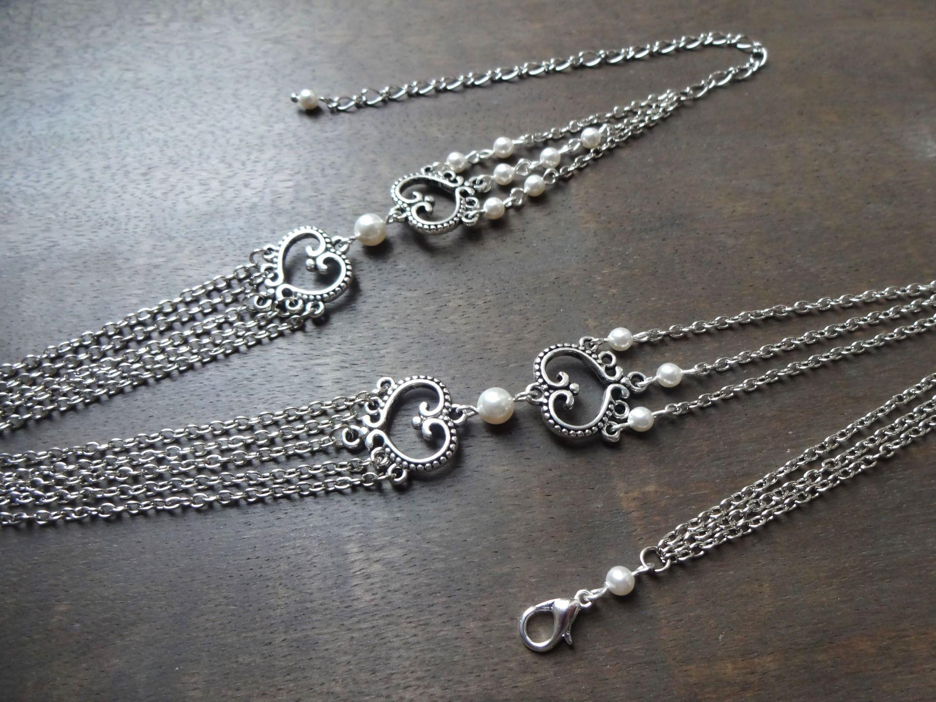 Headband mariage perles nacrées blanc en cristal swarovsky avec arabesques en métal argent platine vieilli : Accessoires coiffure par les-bijoux-d-aki